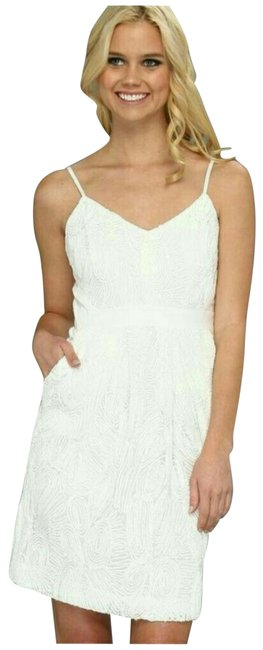 Item - Off White Embroidered Over Mesh Short Night Out Dress Size 4 (S)