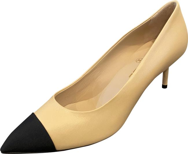 Item - Tan Calfskin Leather & Black Grossgrain Point-toe Mid-heel Pumps Size US 9 Regular (M, B)