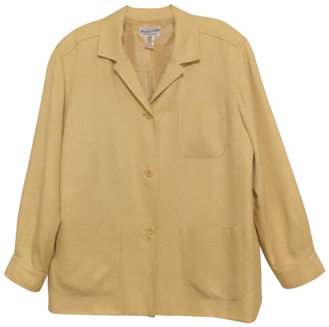 Item - Yellow Silk Blend Jacket Size 16 (XL, Plus 0x)