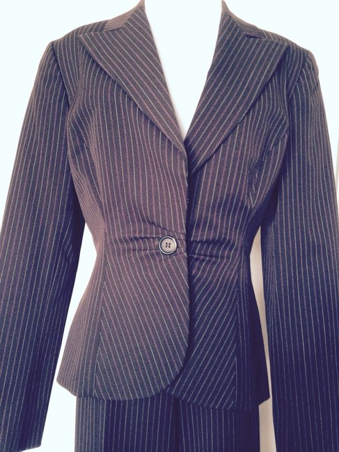 Nine West Brown W/ Hot Pink Pinstripe Suit