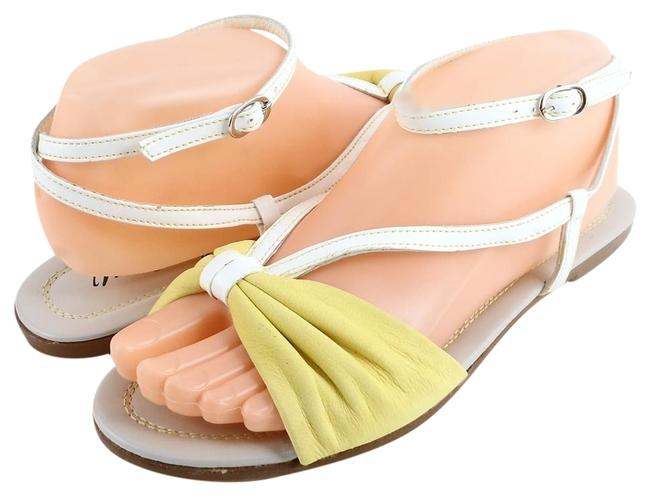 Item - Yellow White Astrid Leather Flat Sandals Size EU 38 (Approx. US 8) Regular (M, B)