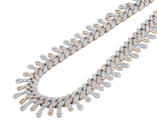"Item - 10k Rose / White Gold Two Tone Dripping Diamond Cuban Chain 22mm 18"" 33.5 Ct Necklace"