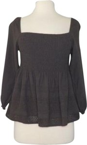 House of Harlow 1960 Balloon Sleeve Embroidered Eyelet Smocked Top gray
