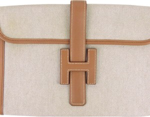 Hermes 0dhecl001 Vintage Leather Brown Clutch
