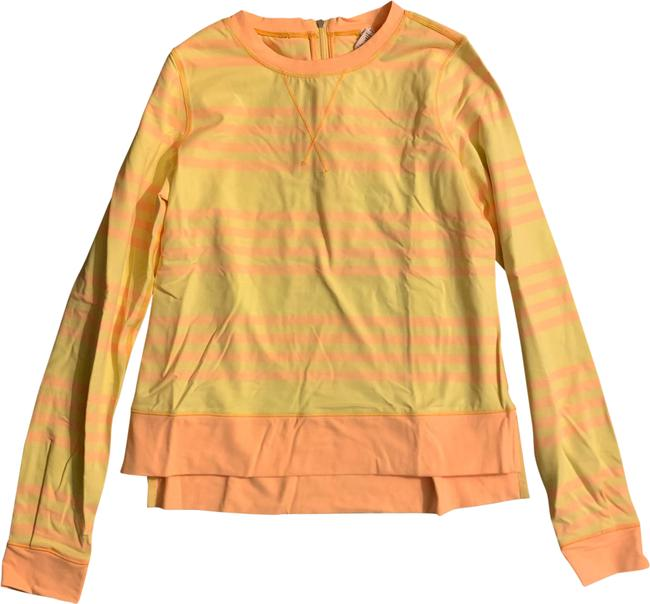 Item - Yellow Striped Warmup Crew Activewear Top Size 4 (S)
