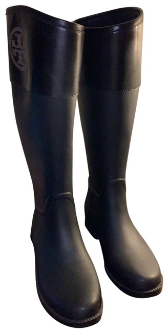 Item - Black Rubber and Leather Logo Rain Boots/Booties Size US 7 Regular (M, B)