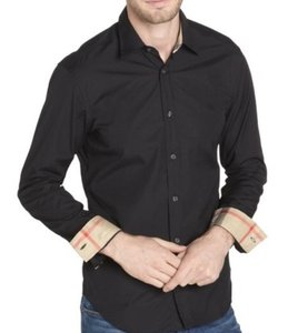 Burberry Black Men's Henry Long Sleeve Stretch Cotton Dress S Shirt