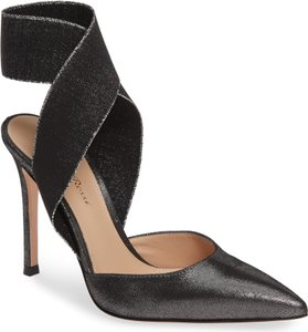 Gianvito Rossi Ankle Strap Pointed Toe Leather Metallic Black Pumps