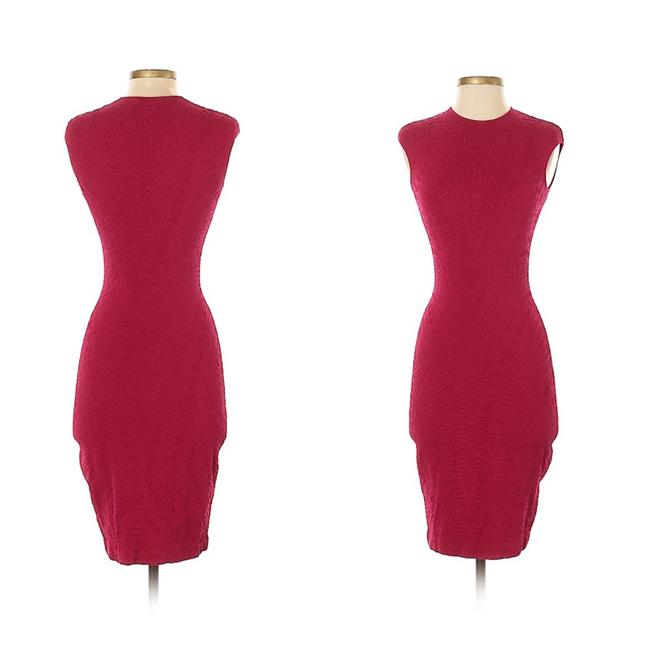Item - Red Magenta Wool Knit Bodycon Mid-length Cocktail Dress Size 12 (L)