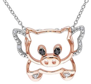 Two-tone Sterling Silver Black White Diamond Fashion Pig Pendant Necklace