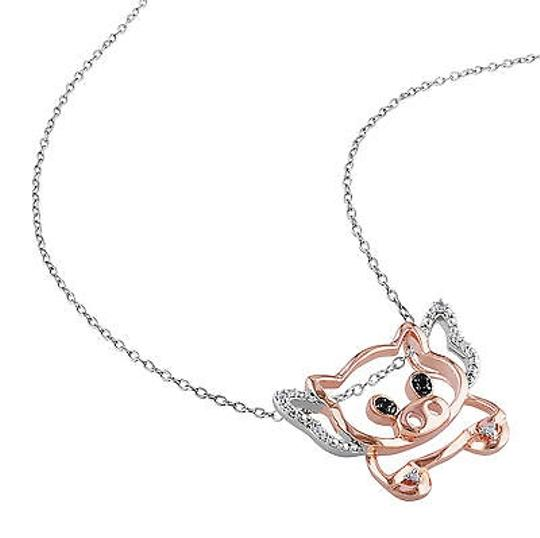 Other Two-tone Sterling Silver Black White Diamond Fashion Pig Pendant Necklace