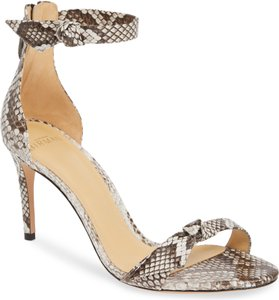 Alexandre Birman Snakeskin Ankle Strap Open Toe Pump Gray Sandals