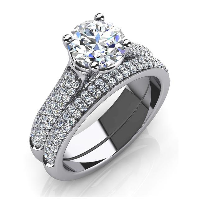 Item - White 2.75 Ct Round and Band Engagement Ring