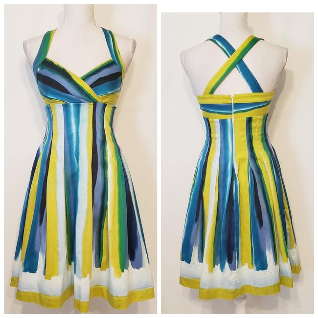 Item - Blue and Green Mid-length Cocktail Dress Size 2 (XS)