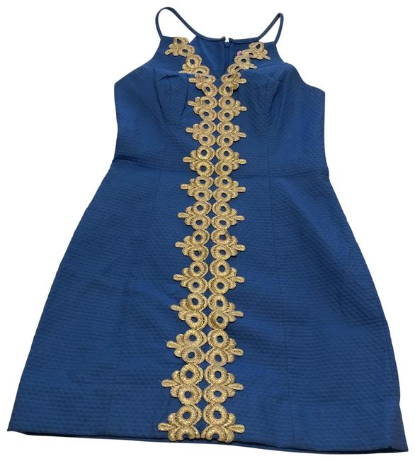 Item - Blue And Gold Form Fitted Short Cocktail Dress Size 00 (XXS)