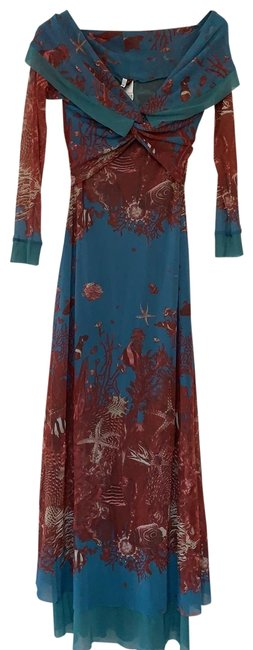 Item - Blues Rust and Beige. Gauleiters Soleil Long Cocktail Dress Size 10 (M)