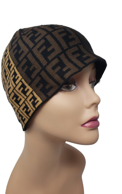 Item - Brown Beige Wool Zucca Monogram Knit Hat
