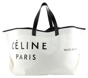 Céline Canvas Leather Tote in White