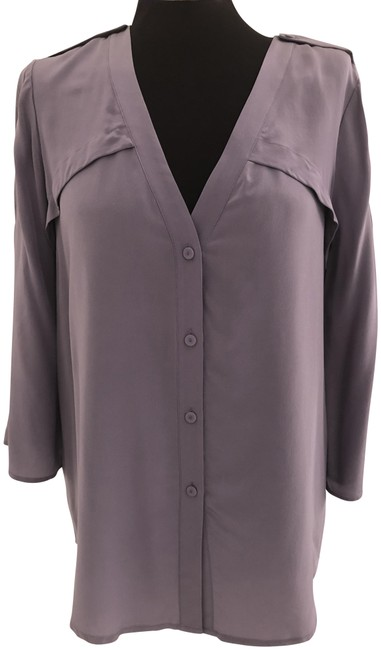 """Item - Frosted Plum 3/4 Roll Up Sleeve """"Drew"""" Blouse/Top Blouse Size 4 (S)"""