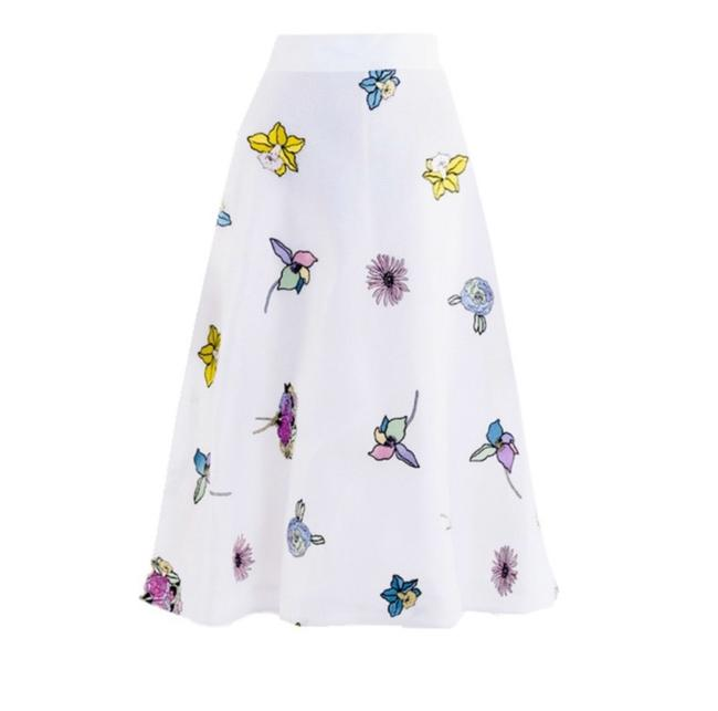 Item - White / Multicolor Embroidered Mesh Circle Skirt Size 4 (S, 27)
