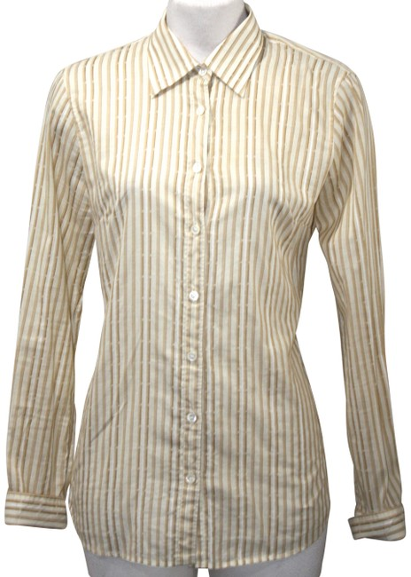 Item - Tan & Beige Button Down Long Sleeve Small Tee Shirt Size 6 (S)