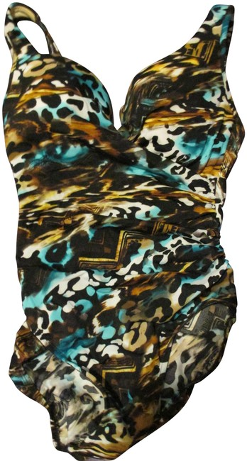 Item - Blue Brown & White Animal Print One-piece Bathing Suit Size 10 (M)