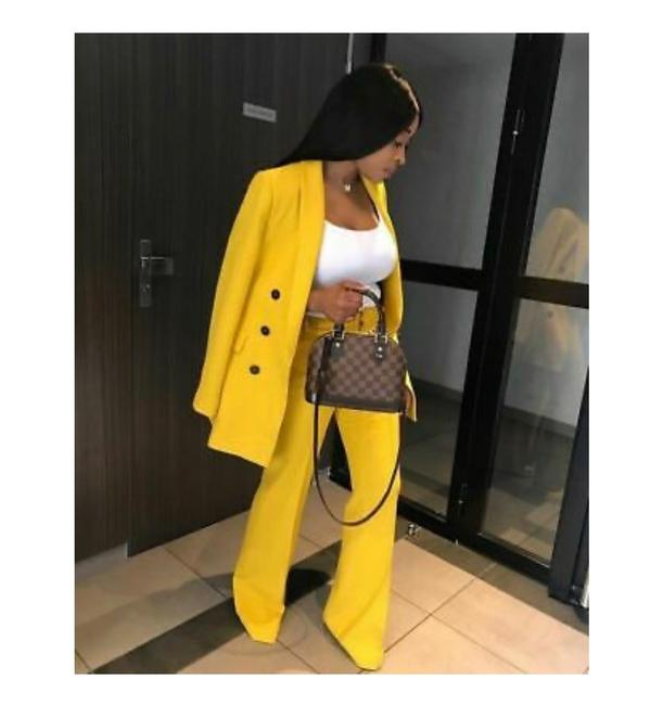 Item - Yellow Double Breaste Blazer Trousers Co-ord Set Pant Suit Size 2 (XS)