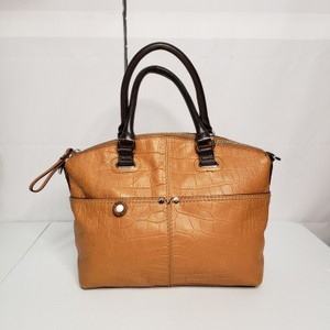Tignanello Leather Two-tone Textured Silver Hardware Satchel in Cognac/Brown