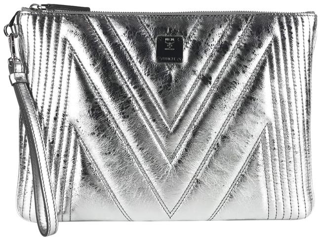 MCM New Quilted Metallic Wristlet Silver Leather Clutch MCM New Quilted Metallic Wristlet Silver Leather Clutch Image 1