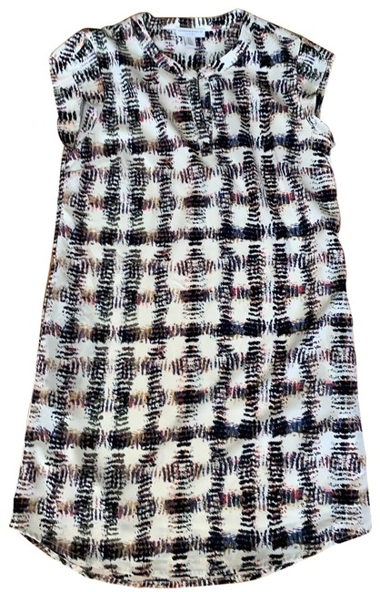 Item - Creme Background/Navy Pink Print Sheath Cap Sleeve Lined Short Casual Dress Size 2 (XS)