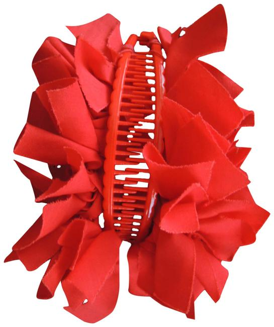 Item - Red Ladies Ornament Banana Clip Fabric On Plastic Comb Clip Hair Accessory