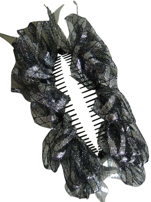 Item - Black and Silver Ladies Ornament Banana Clip Mesh Fabric On Hair Accessory
