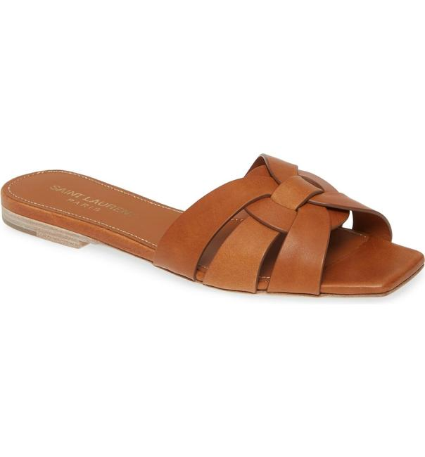 Item - Brown Tribute Ysl Nu Pieds Ambra Leather Slip On Slide Flop Flat Sandals Size EU 36.5 (Approx. US 6.5) Regular (M, B)