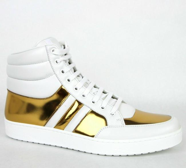 Item - Gold White Men's Padded Leather High-top Sneaker 9/10 368494 9068 Shoes