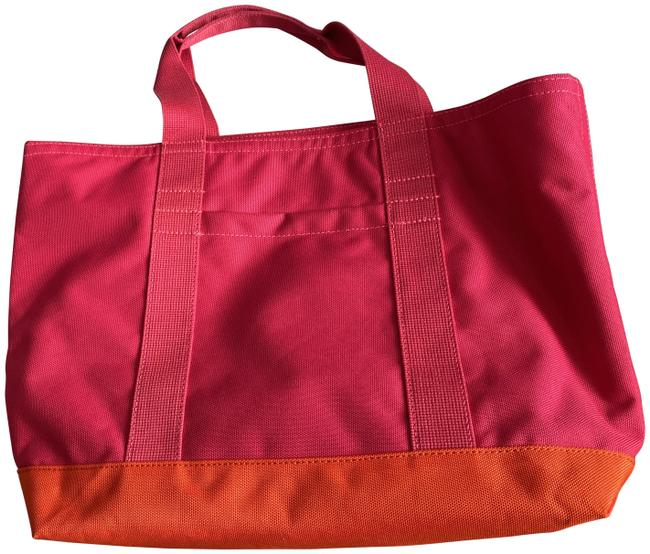 Item - Small Tote Hot Pink and Orange Nylon Beach Bag