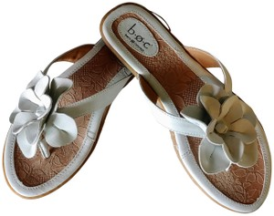 B.O.C. Faux Leather White and Tan Sandals