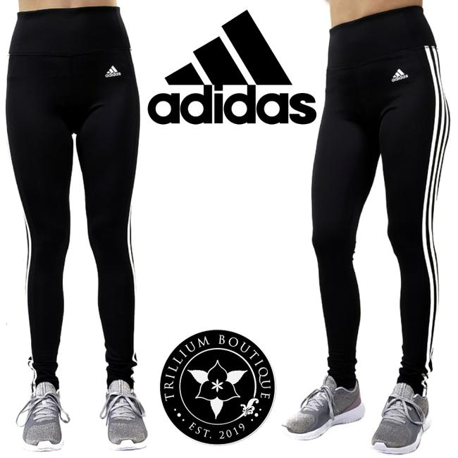 Item - Black & White Climalite Women's 3 Stripe Tights Mid Rise Activewear Bottoms Size 8 (M, 29, 30)