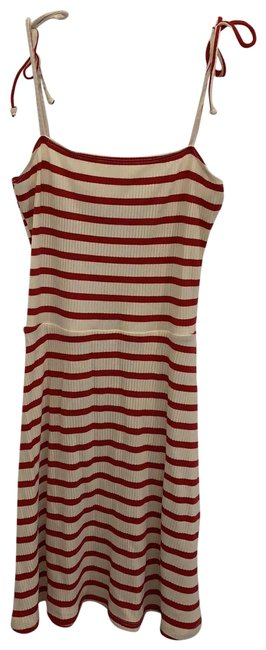 Item - Red and Ivory Striped Rib Short Casual Dress Size 6 (S)