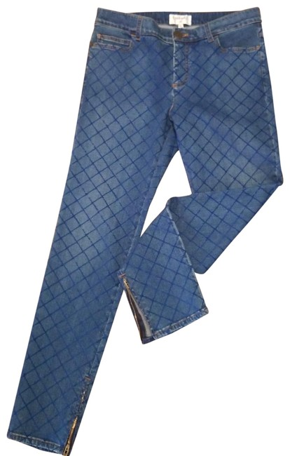 Item - Blue Coated 2018 Waterfall Collection Stretch Velvet Flocked Quilting 40 Fr Skinny Jeans Size 32 (8, M)