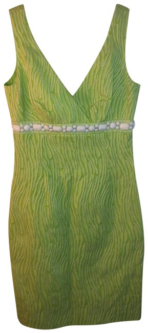 Item - Neon Green Tiger with White Jewels Short Casual Dress Size 0 (XS)