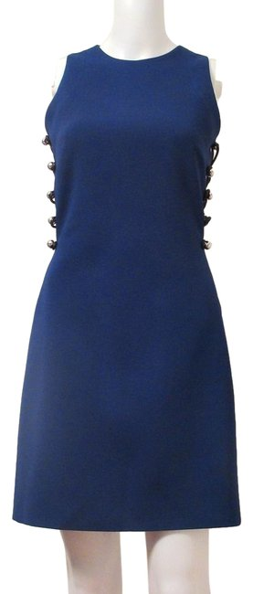 Item - Blue Women's with Two Loops and Metal Balls Mid-length Cocktail Dress Size 14 (L)
