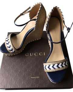 Gucci Summer Espadrille Wedge Navy Blue and White Wedges