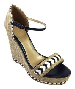 Gucci Tiffany Navy Blue and White Wedges