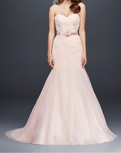 David's Bridal Blush Pink Polyester Tulle Strapless Ruched Mermaid Sexy Wedding Dress Size 12 (L)