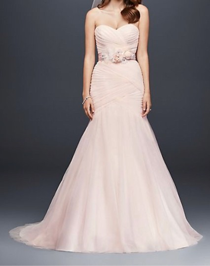 Preload https://img-static.tradesy.com/item/27217077/david-s-bridal-blush-pink-polyester-tulle-strapless-ruched-mermaid-sexy-wedding-dress-size-12-l-0-1-540-540.jpg