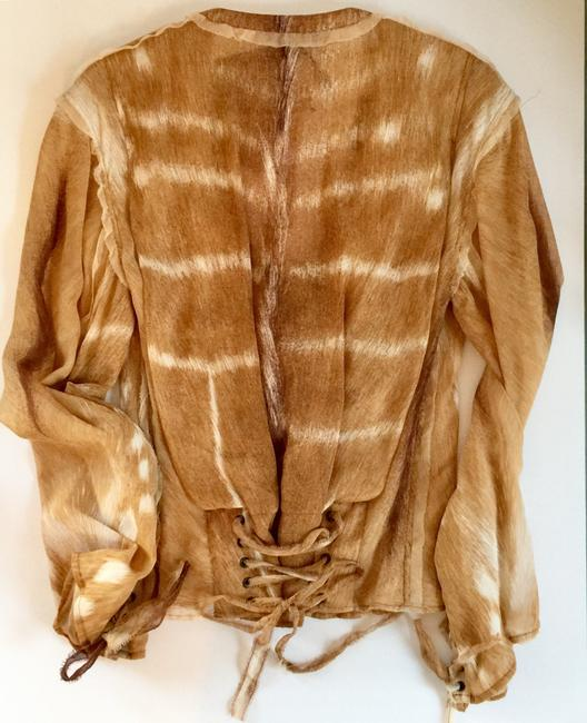 Saint Laurent Summersale Vintage Unworn Impossible-to-find Tan with White Yves' Rive Gouche Resort Runway Safari Collectible Blouse Size 4 (S) Saint Laurent Summersale Vintage Unworn Impossible-to-find Tan with White Yves' Rive Gouche Resort Runway Safari Collectible Blouse Size 4 (S) Image 12