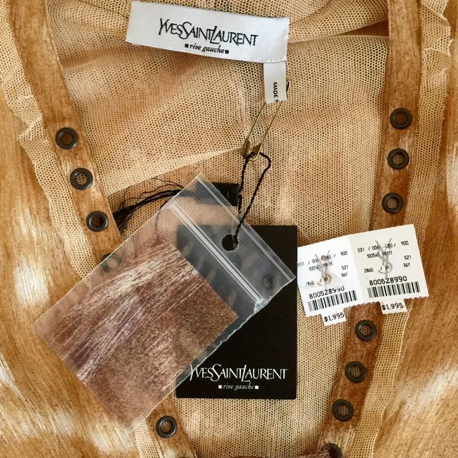 Saint Laurent Summersale Vintage Unworn Impossible-to-find Tan with White Yves' Rive Gouche Resort Runway Safari Collectible Blouse Size 4 (S) Saint Laurent Summersale Vintage Unworn Impossible-to-find Tan with White Yves' Rive Gouche Resort Runway Safari Collectible Blouse Size 4 (S) Image 10