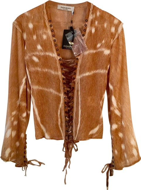 Item - Vintage Unworn Impossible-to-find Tan with White Yves' Rive Gouche Resort Runway Safari Collectible Blouse Size 4 (S)
