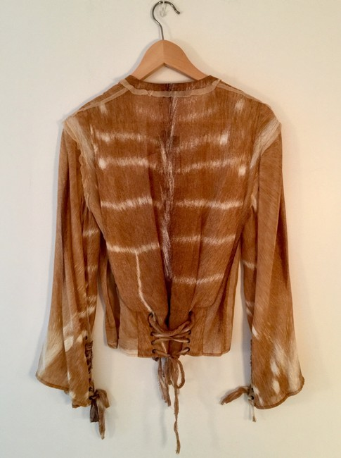 Saint Laurent Summersale Vintage Unworn Impossible-to-find Tan with White Yves' Rive Gouche Resort Runway Safari Collectible Blouse Size 4 (S) Saint Laurent Summersale Vintage Unworn Impossible-to-find Tan with White Yves' Rive Gouche Resort Runway Safari Collectible Blouse Size 4 (S) Image 3