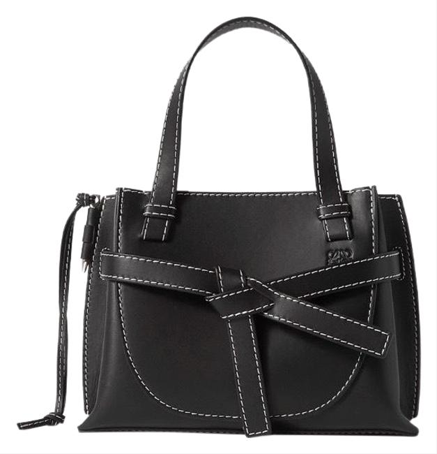 Loewe Shoulder Gate Mini Top Stitched Leather Tote Black Cross Body Bag Loewe Shoulder Gate Mini Top Stitched Leather Tote Black Cross Body Bag Image 1